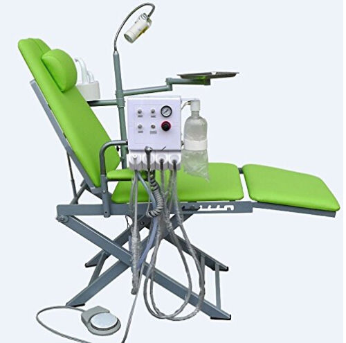 Dental Portable Folding Mobile Chair Unit with LED Surgical Light Lamp and Tray