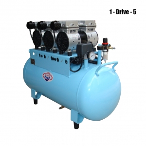90L Dental Air Compressor Noiseless Oilless 390L/min 1-Driving-5 Stable NEW