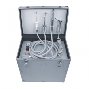 Portable Dental Turbine Unit(Fiber Optic Pipes LED) + Air Compressor +Suction System + Triplex Syringe
