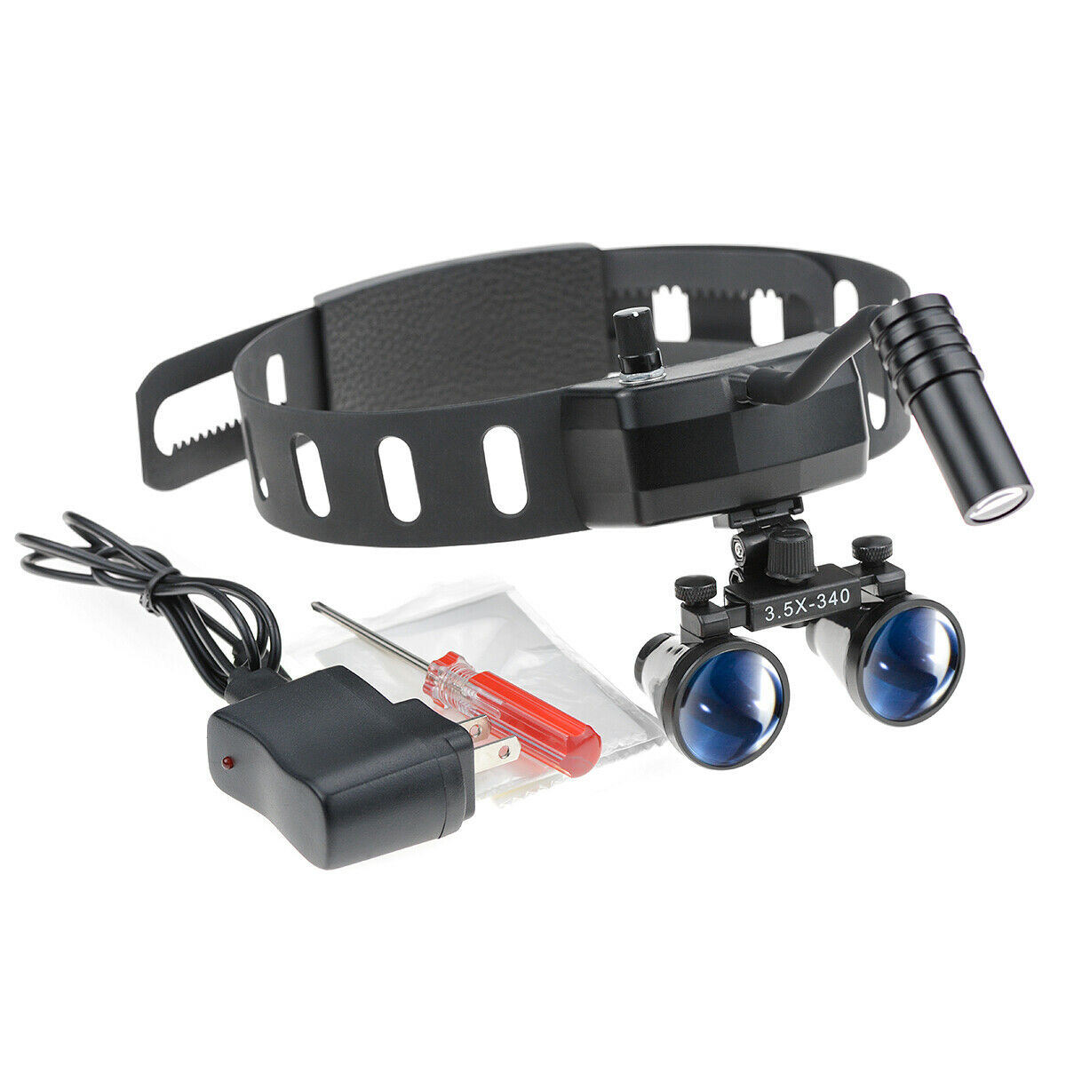 5W Wireless LED Head Light with 3.5X Binocular Loupes for Dental Medical
