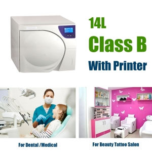 14L Class B Dental Autoclave Sterilizer Machine with Printer Vacuum Steam Sterilization For Medical Lab Beauty Salon